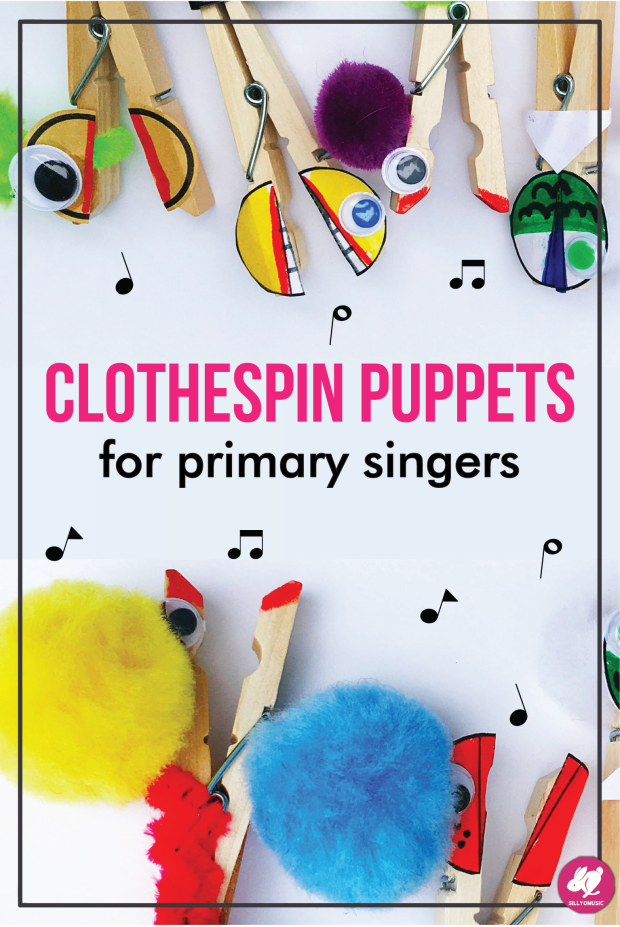 """How to Make Clothespin Puppets for Shy Singers - Fun and easy student craftivity for prek, daycare, or primary elementary music class. Free printable template included. An engaging activity for non-music sub plans or a rewarding activity for a class party.  You can even use them as a favor/craft for a kid's birthday party and use them to sing """"Happy Birthday.""""  #sillyomusic"""