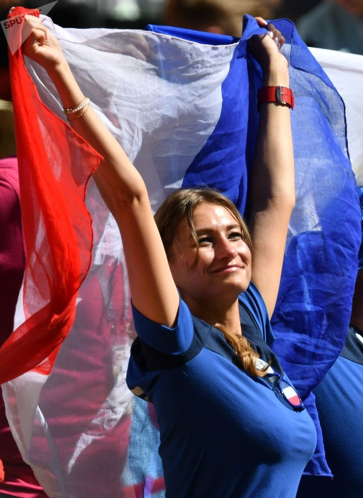 French female fans of ahead World Cup match between France and Australia