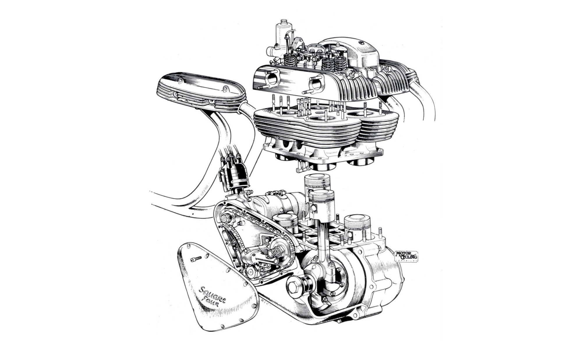 hight resolution of ariel square four engine cutaway