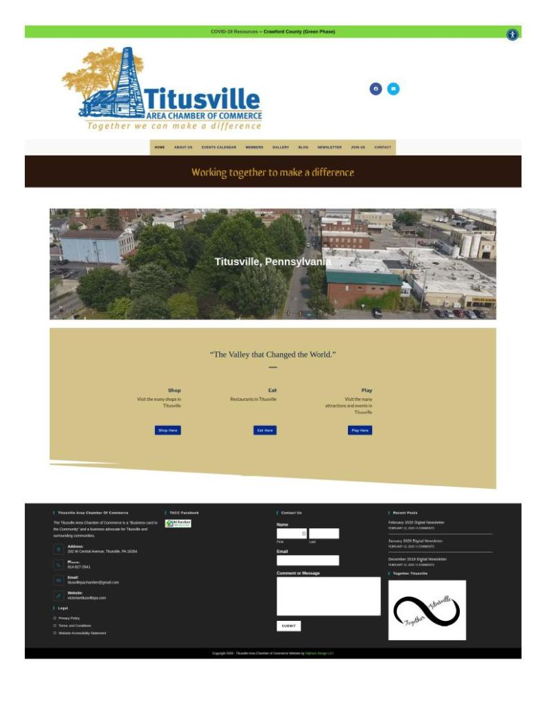 Example websites, Titusville Area Chamber of Commerce