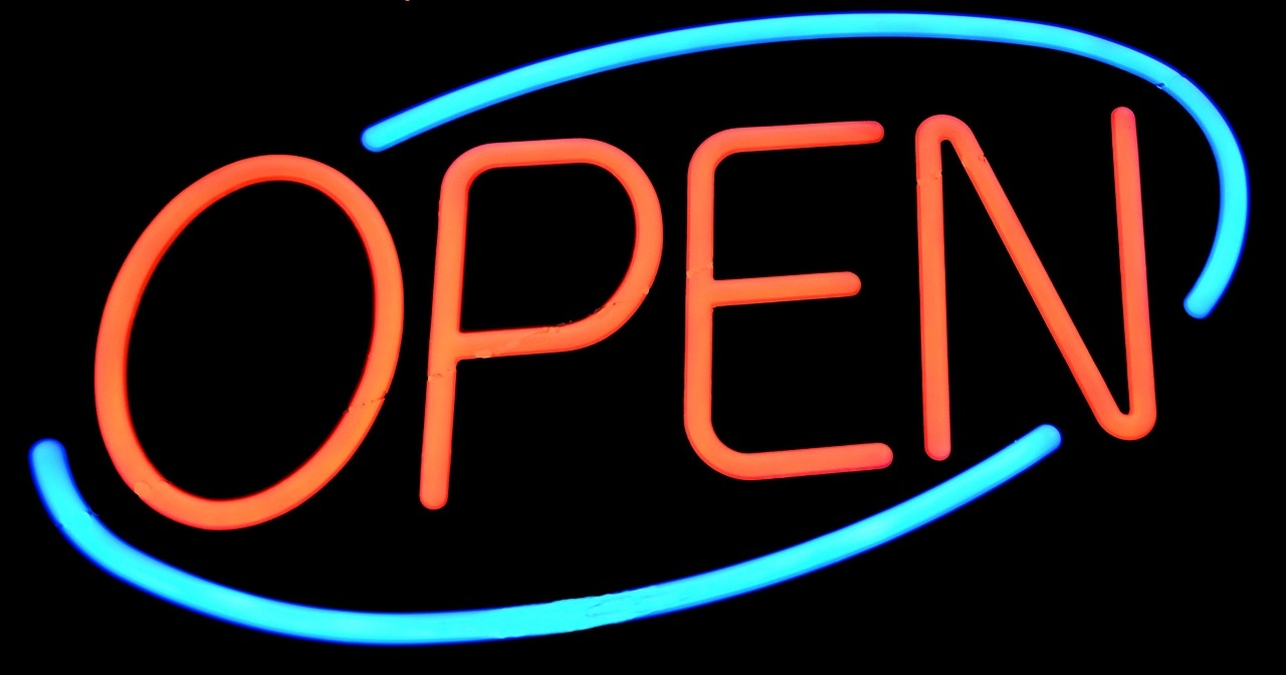 Blue and Red Open Sign signifiying your website is always open