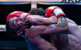 Luis Oliva (izquierda), de los Domadores de Cuba, combate con Radjab Butaev, de Rusia, en los 64 kg, durante la IV Serie Mundial de Boxeo (WSB), que tuvo lugar en el Coliseo de la Ciudad Deportiva, el viernes 6 de Diciembre de 2013, La Habana. FOTO: Calixto N. Llanes (CUBA)