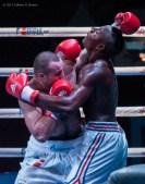 Erislandi Savon (derecha), de los Domadores de Cuba, combate con Victor Kuduhov, de Rusia, en los 91 kg, durante la IV Serie Mundial de Boxeo (WSB), que tuvo lugar en el Coliseo de la Ciudad Deportiva, el viernes 6 de Diciembre de 2013, La Habana. FOTO: Calixto N. Llanes (CUBA)