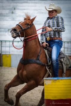Yaima Gonzalez compite en la carrera entre barriles en la final del Campeonato Nacional de Rodeo entre Villa Clara y Sancti Spiritus, durante la Feria Internacional Agroindustrial Alimentaria (FIAGROP) de Rancho Boyeros el martes 18 de marzo de 2014 en La Habana, Cuba. FOTO de Calixto N. Llanes/Juventud Rebelde (CUBA)