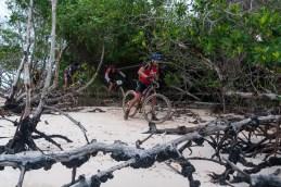 Ciclistas pedalean por la arena y dentro del mangle durante la quinta etapa de la Titán Tropic Cuba de ciclismo de montaña. FOTO de Calixto N. Llanes (CUBA)