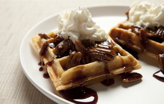 Gluten-Free, Dairy-Free Sticky Bun Waffles with Toasted Pecan Brown Sugar Syrup