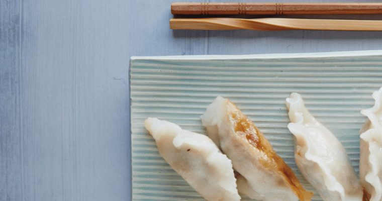 Crispy Shrimp and Pork Potstickers with Chili-Soy Dipping Sauce