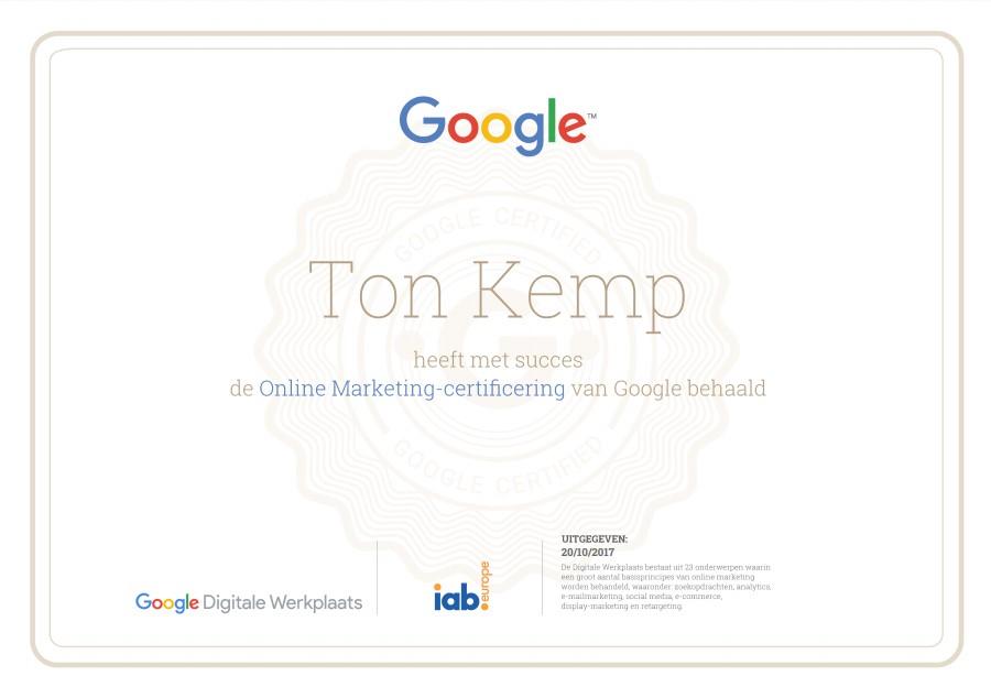Ton Kemp google online marketingcertificaat