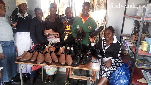Some of the Nyahunure leathers works group with their finished products after level 2 training