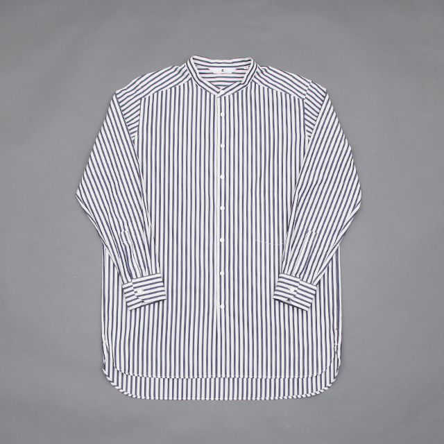 SILVER AND GOLD GENERAL MERCHANDISE Artist Band Collar Shirt Candy Stripe