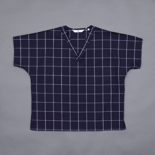SILVER AND GOLD GENERAL V-Neck Medical Shirt Windowpane