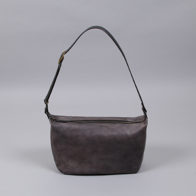 LEATHER & SILVER MOTO Goat Leather Shoulder Bag Charcoal [BAG18]