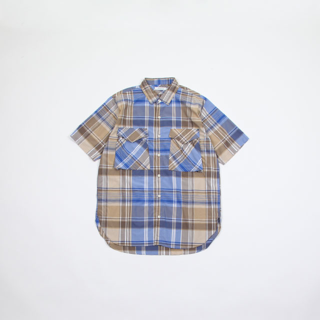 nonnative HUNTER LONG SHIRT S/S R/P MADRAS PLAID BEIGE/BLUE [NN-S3524]