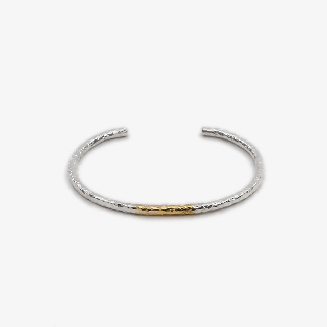 LEATHER & SILVER MOTO Combi Bangle Silver [BT-30]