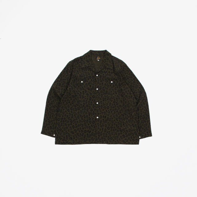 Needles One-up Cowboy Shirt – Rayon Cloth / Leopard Print Olive [GL187]