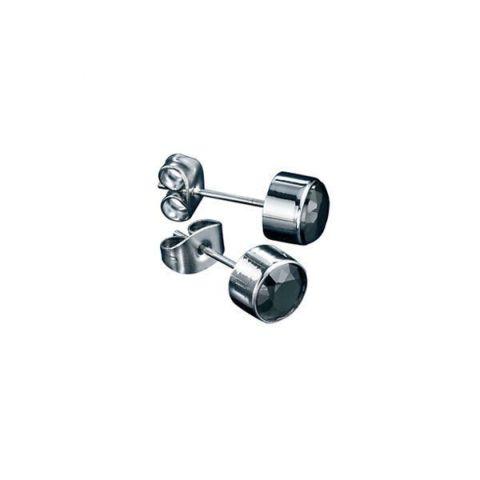 Black Cubic Zirconia Steel Stud Earrings
