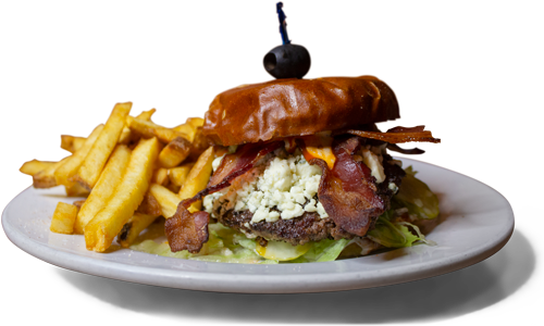 Buffalo Blues Burger, featuring bacon and bleu cheese crumbles, served alongside a pile of fries