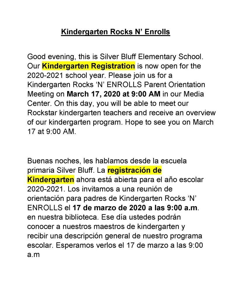 Kindergarten Orientation Info