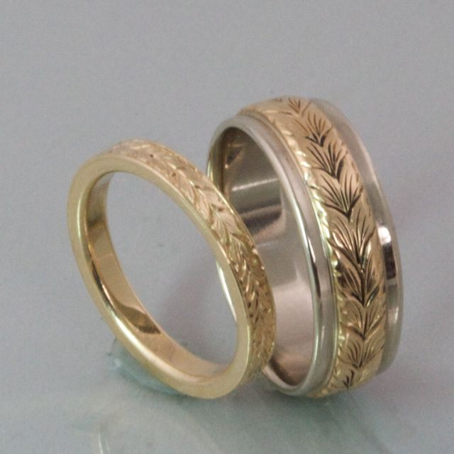 2mm Wheat Leaf Engraved Band Gt Modern Heirloom Hers
