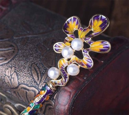 Purple and Yellow Scalloped Oak Leaf Enameled Metal Hairpin