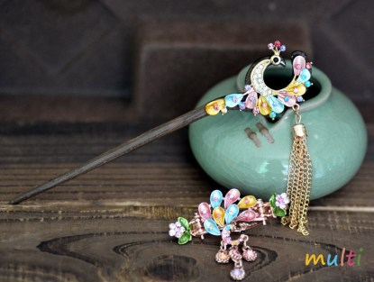 Multicolor Painted Peacock Hairpin and Hair Clip set Meta