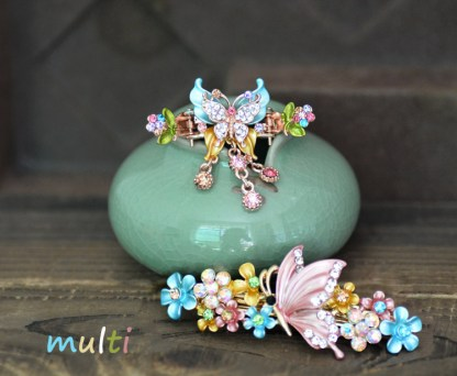 Multi-Color Butterfly Hair Clip and Barrette Set.