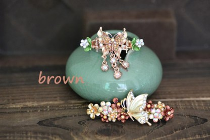 Brown Butterfly Hair Clip and Barrette Set