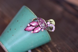 Purple Three Point Metal Mini Hair Clip