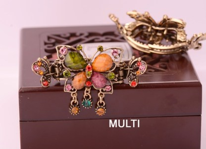 Multicolor Antique Rhinestone Butterfly with Outline Metal Hair Clip Claw