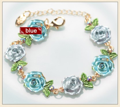 Blue Painted Flower Metal Braclet Chain
