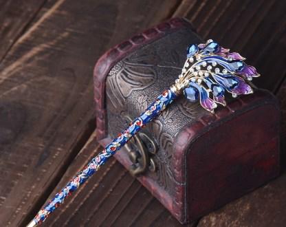 Dark Blue Chinese Enamel Closine Hair Pin