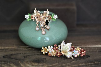 Brown Butterfly Hair Clip and Barrette Set.