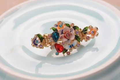 Red Enameled Painted Flower and Butterfly Hair Claw