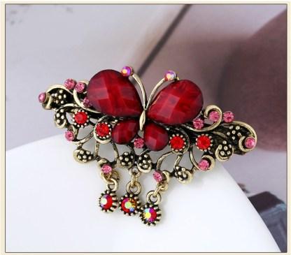 Red Rhinstone Butterfly Hair Barrette Metal