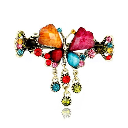 Multi Retro Rhinestone Butterfly Shaped Hair Claw Clip