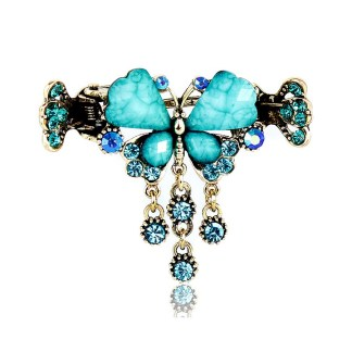 Blue Retro Rhinestone Butterfly Shaped Hair Claw Clip