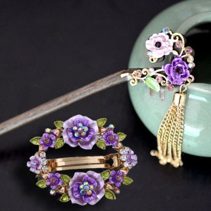 Purple Set Open Center Painted Rose Flowers Hair Barrette and Wooden Hair Pin