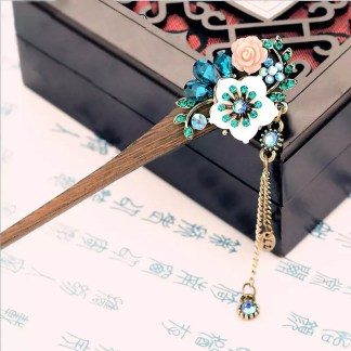 Resin Flower Wooden Hairstick with Colored Jewels