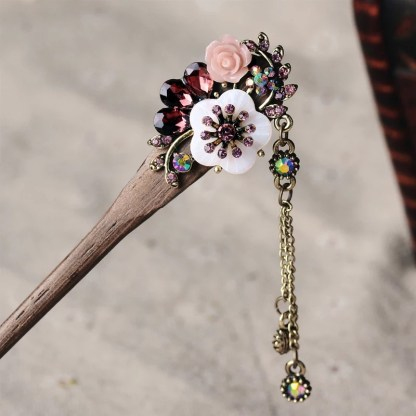 Purple Resin Flower Wooden Hairstick with Colored Jewels
