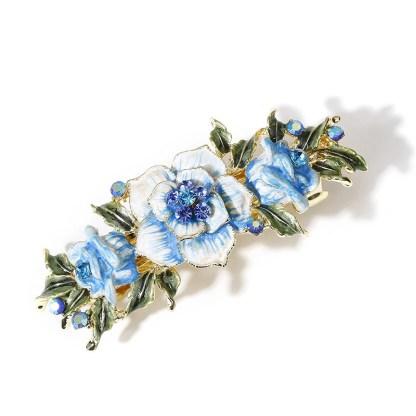 Blue Enameled Metal Flower Barrette