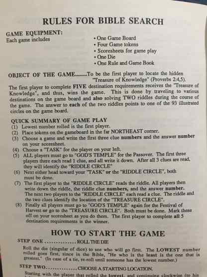 Rules Book for Bible Search the Board Game
