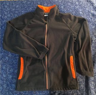 Starter Full Zip Sweatshirt Fleece Gray and Orange