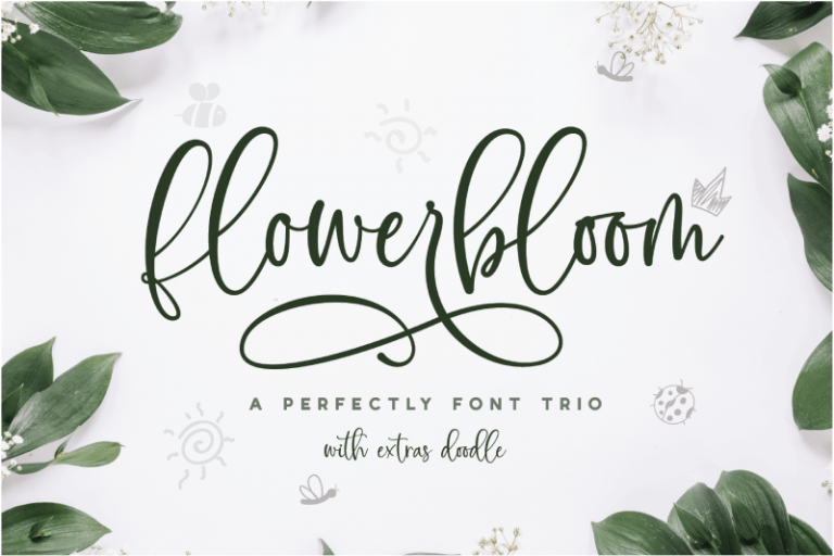 Preview image of Flowerbloom – Font Trio with Extras Doodle