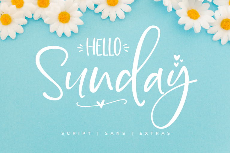 Preview image of Hello Sunday – Font Duo with Extras Doodle