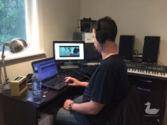 James is still going solid on the score after all day and all night sound recording on the shoot. silverduck160918-8540