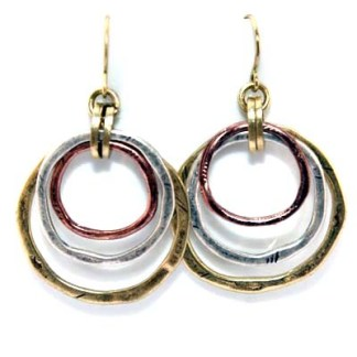 Two Tone Sculptured Circle Slider 18Kt Gold Pl Earrings