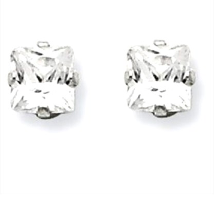 Sterling Silver Princes Cut Square CZ 6*6 MM Post Earrings Snap Closure Gift Box