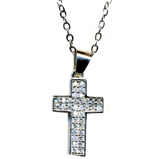 Classic Cross Micro Pave CZ  Religious Christian Cross Necklace Sterling Silver 925