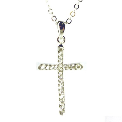 """Sterling Silver 925 Skinny Cross CZ Studded Pave Necklace 18"""" Chain Gift Box"""