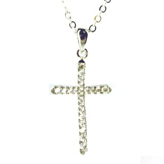 "Sterling Silver 925 Skinny Cross CZ Studded Pave Necklace 18"" Chain Gift Box"